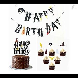 Other - Harry Potter Birthday Banner & Came Topper